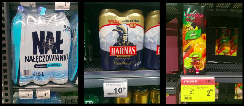 ポーランドの水、ビール、ジュースの値段