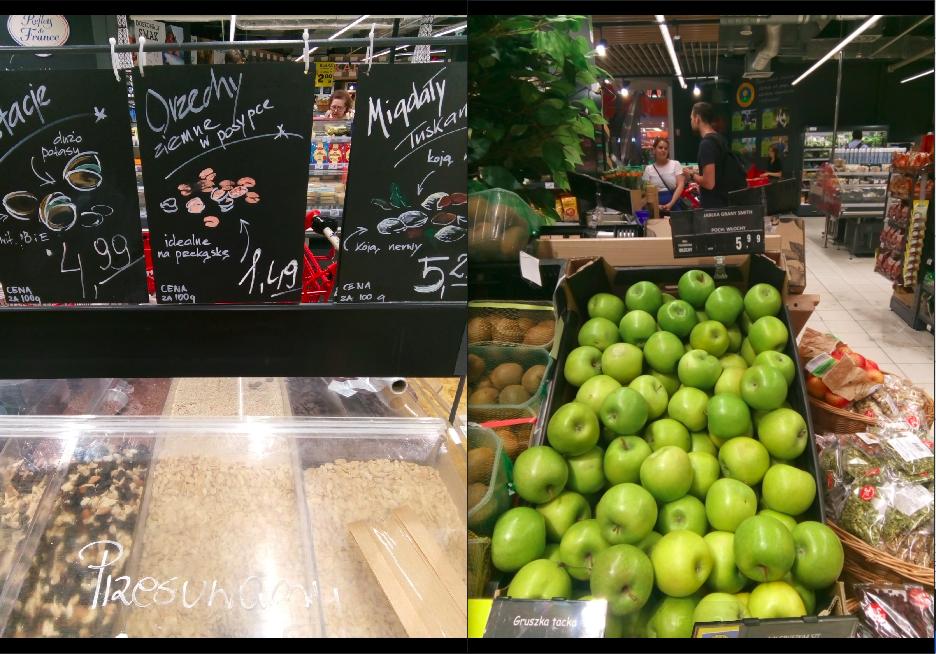 ポーランドのスーパーにて:果物とナッツ類